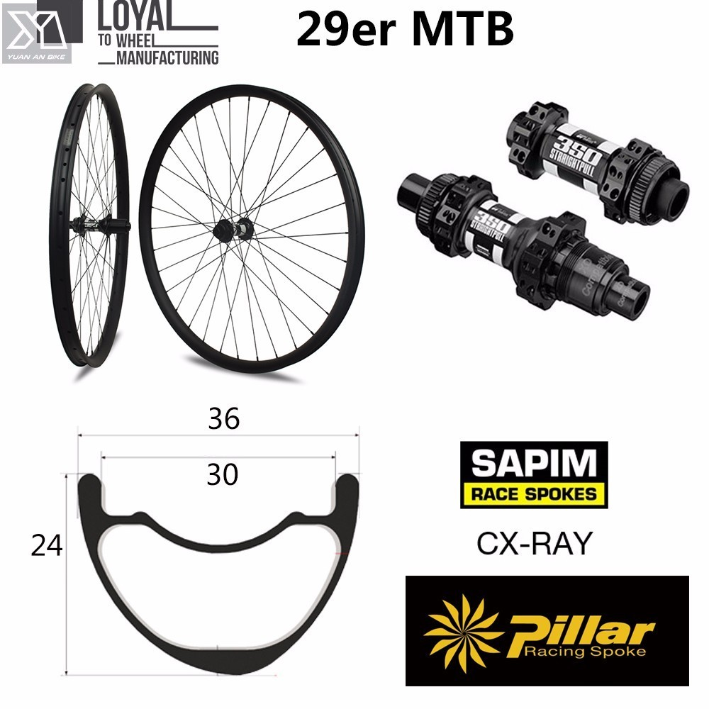 Mountain bike Asymmetric hookless MTB Wheelset Carbon 29er XC/AM 36mm Width 24mm depth with mtb DT350S hub oem mtb wheelset 29er mtb wheelset mountain bike 27mm width carbon wheel hookless mtb wheels with novatec hub