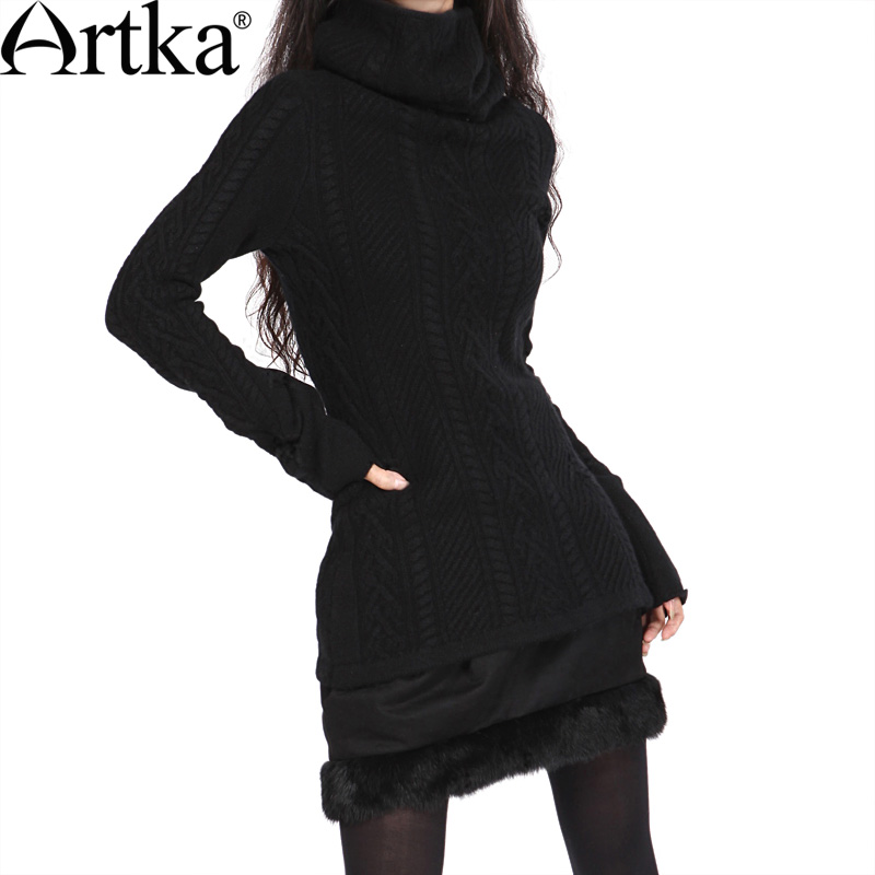 ARTKA Women S Vintege Style Slim Pullovers Top Full Three Dimensional Flowers Basic Wool Winter Turtleneck