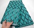 Blauw-groene borduren Afrikaanse kant stof hoge kwaliteit 2019 beautifule franse tulle kant met pailletten voor nigeriaanse vrouwen jurk
