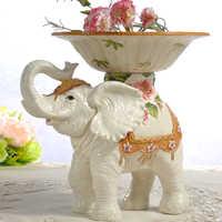 Lírio Elefante de cerâmica De Armazenamento de Doces prato de frutas prato de Salada prato de Sobremesa Lanche decoração casa decoração de casamento artesanato estatueta
