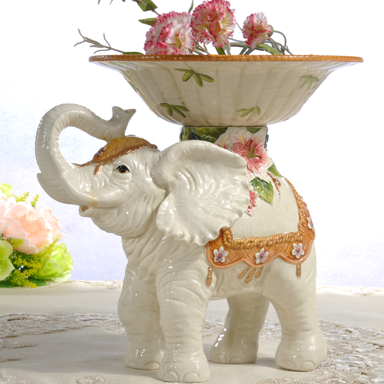 ceramic lily Elephant fruit plate Candy Storage dish Dessert Snack Salad plate home decor wedding decoration handicraft figurine|figurines porcelain|figurine weddingfigurine elephant - title=