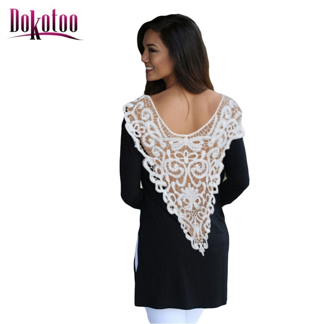 8930e50a7d5 Dokotoo 2017 new summer spring Sexy clubwear Black Crochet Side Slit Long  Sleeve Casual Top LC25741 women white t shirt on sale