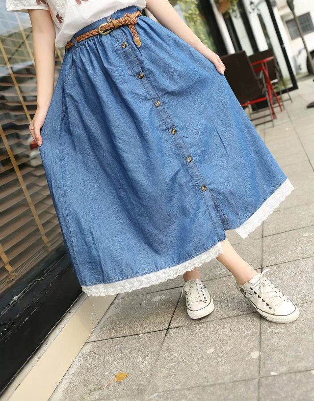 Popular Lace Denim Skirt-Buy Cheap Lace Denim Skirt lots from ...