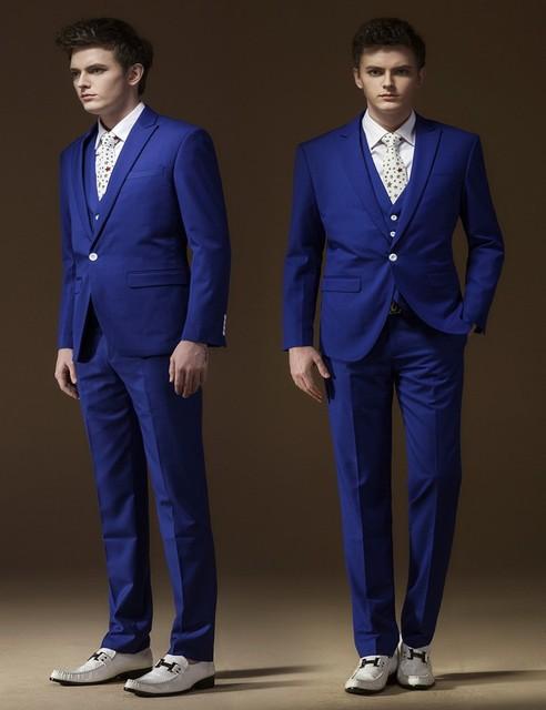 Azul bonito botão do noivo smoking melhor homem terno do casamento do noivo casamento ternos partido ternos ( jaqueta + calça + colete )