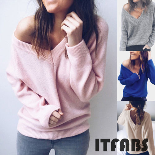 Solid Women's Loose Knitted Pullover Jumper Sweater Deep V Neck Long Sleeve Knitwear Jumper Top