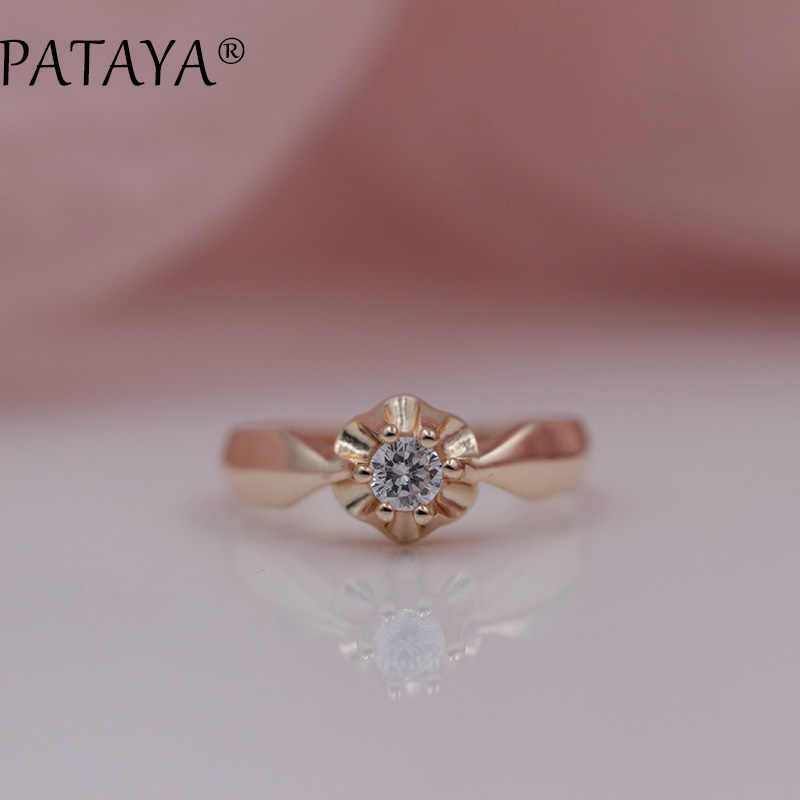 PATAYA New Arrivals Special Offer Female Wedding Fashion Jewelry Women White Round National Zirconia 585 Rose Gold Rings 4mm