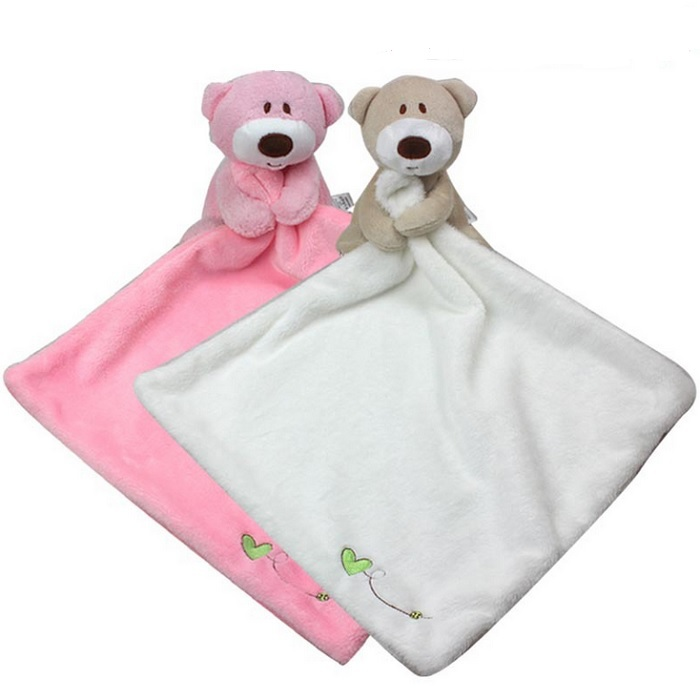1pc Soft Baby Soothe Toy Baby Care Saliva Towel Cute Teddy Bear Plush Comforter Towel