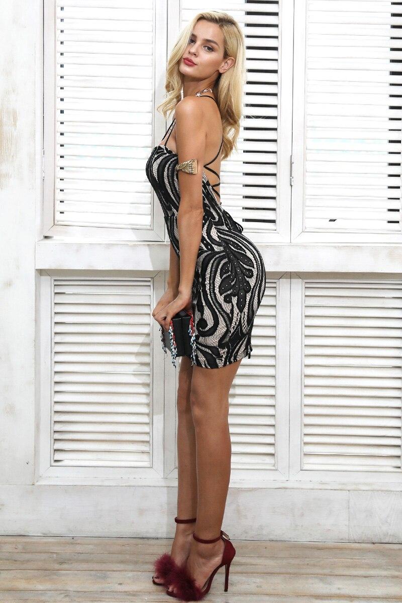 Elegant Lace Up Sleeveless Lace Backless Bodycon Mini Dress