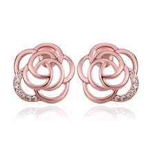 USTAR Rose Gold color Austrian Crystals Lovely Rose Flower Stud Earrings for Fashion Wedding Jewelry Accessoriestop quality