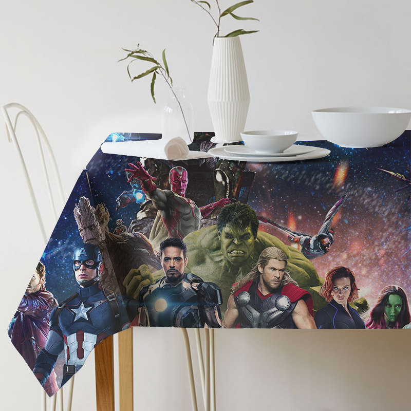 New Super Hero Avengers Alliance Print Decorative Table Cloth Cotton Linen Tablecloth Dining Table Cover For Kitchen Home Decor