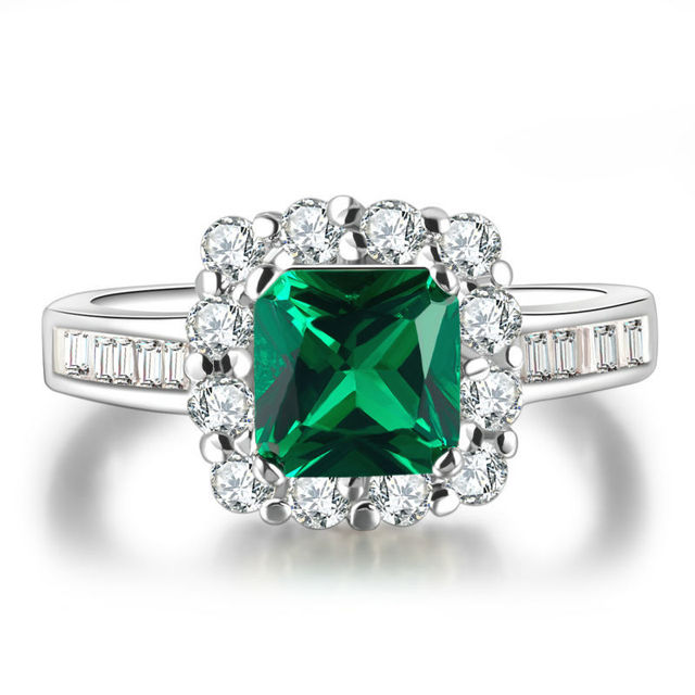 Moda verde esmeralda de corte princesa anillos de compromiso de boda para las mujeres de plata cuadrado de la joyería femenina anillo bague l299