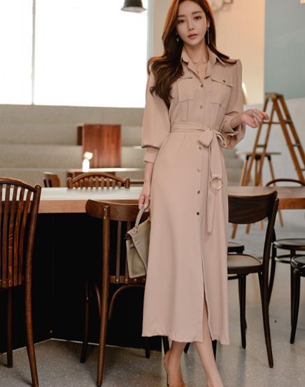 2019 Spring Formal Pencil OL Dress Business Women Single Breasted Turn Down Collar Long Sleeve Office Dress with Belt LJ44 3