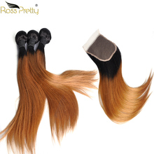 Ross Pretty Hair Ombre 1b 30 Remy Human Bundles With Closure Brazilian Straight Lace color brown