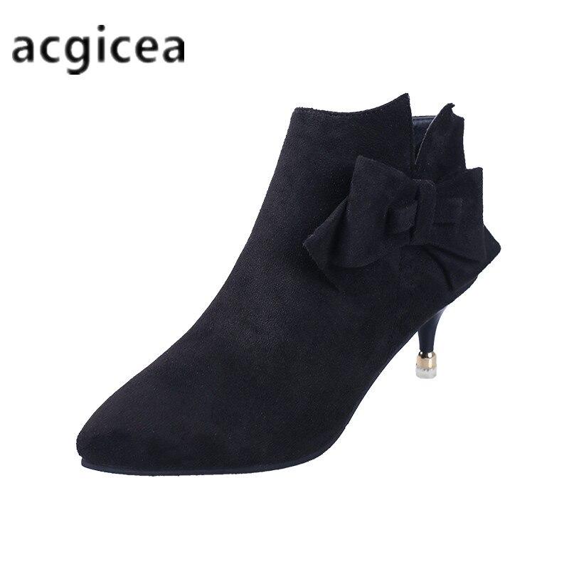 2018 winter neue frauen schuhe spitzen stiletto stiefeletten frauen einfache und komfortable wildleder high heel stiefel c060