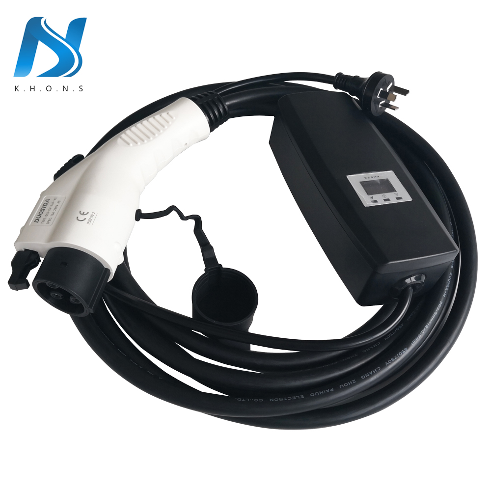 Khons SAE J1772 EVSE Electric Car Vehicle EV Charger With AU Plug 8A 10A 15A Adjustable 16ft Cable Portable Charging Connector