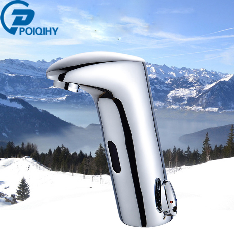 Chrome Bathroom Basin Faucet Sensor Faucet Automatic Inflrared Sensor Hand Touch Tap Hot Cold Mixer Chrome Polished Sink Mixer 100% copper cold and hot water mixer sense faucet automatic sensor faucets basin hand washer dc6v ac110 220v dona4215