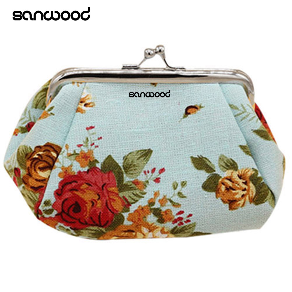 2016 Women Flower Printed Canvas Wallet Card Holder Coin Purse Clutch Handbag Bag women mini owl bird flower wallet card holder case coin purse clutch handbag bag