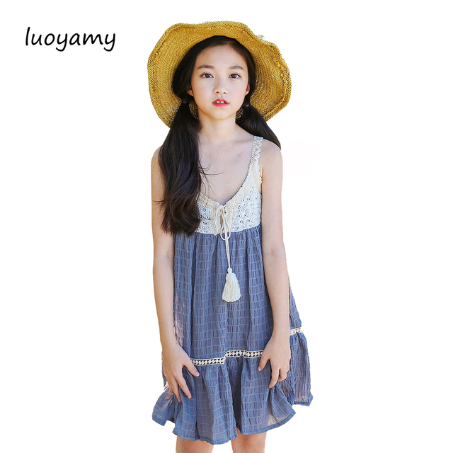 luoyamy Grils Sleeveless Dresses Tie Princess Children Baby Girl Casual Beach  Clothing Lace Party Gown Birthday Dresses a80c5405d482