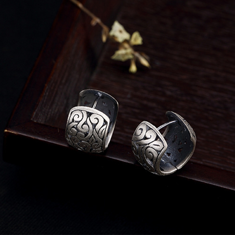 Image 2 - BALMORA Real 990 Pure Silver Hollow Clouds Ethnic Stud Earrings for Women Mother Gift Vintage Elegant Fashion Jewelry BrincosStud Earrings   -