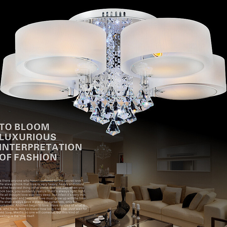Ceiling Lamp Shades For Living Room: Remote Control Color Change K9 Crystal Acrylic Shade