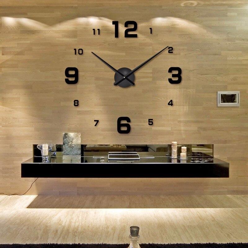 2019 Large DIY Wall Clock Acrylicl Mirror Digital Clock 3D Wall Clock Personalized Digital Wall Clocks Free Shipping
