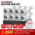 8 PCS HD 720 P 1.0MP Bala IP Camera KIT Sistema de Casa Inteligente câmera de Segurança Sistema de CFTV Em tempo Real Completa 720 P NVR POE 8CH KIT