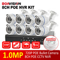 8PCS HD 720P 1.0MP Bullet IP Camera System KIT Smart Home Camera Security CCTV System Full Real time 720P 8CH POE NVR KIT