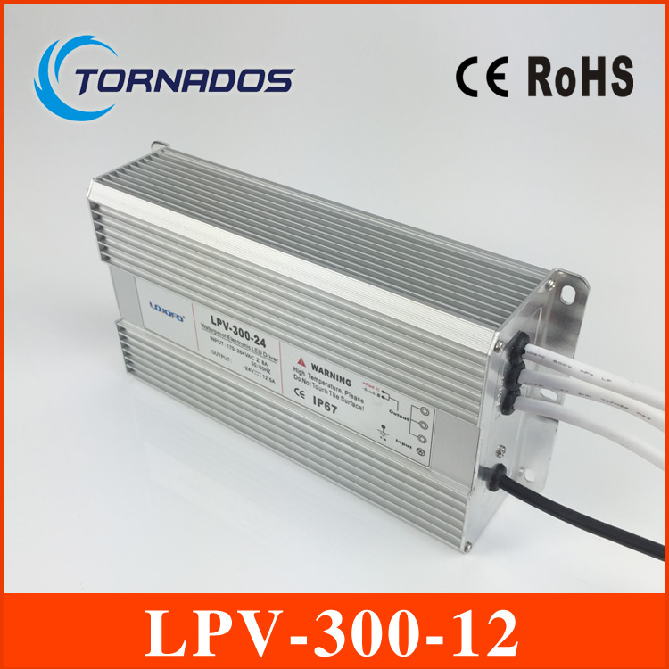 300W 12V 25A LED constant voltage waterproof switching power supply IP67 for led drive LPV-300-12 120w 48v 2 5a led constant voltage waterproof switching power supply ip67 for led drive lpv 120 48