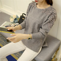 free shipping pull femme new fashion women autumn winter lace patchwork long sleeve loose knitted bottom sweaters and pullovers