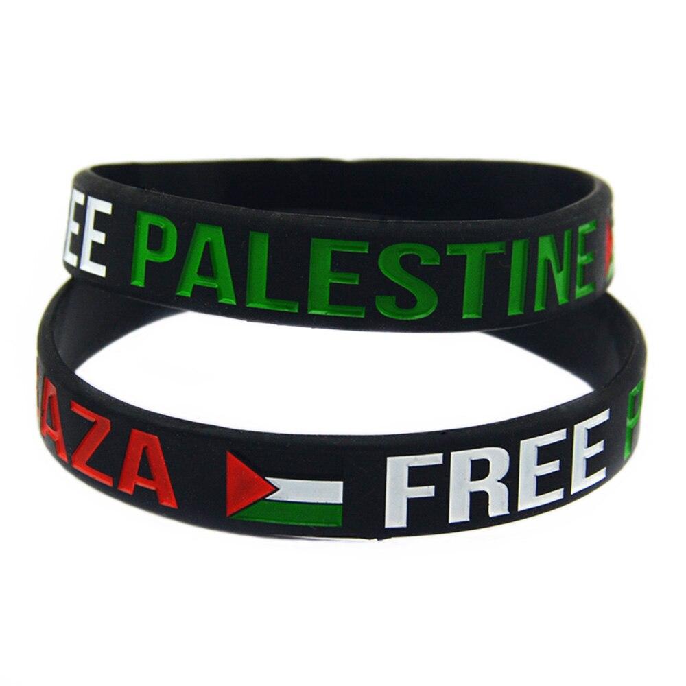 OBH 1 шт., браслет из силиконовой резины с флагом из свободной Палестины из Газы, черный и белый
