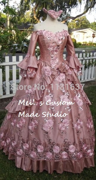 Custom Made Dusty Rose Floral Sparkle Fantasy Marie Antoinette Princess Gown Lace-Up Moive Theater Period Dress