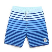 Asstseries QIKE breathe men board shorts blue white color Stripe design summer
