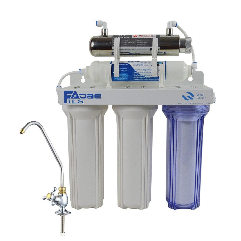 Wysoka jakość! Thepięć etap podzlewozmywakowych filtr wody pitnej z 6 W sterylizator UV do użytku W kuchni domowej, moc: 220 V, ue dwa Ping wtyczka