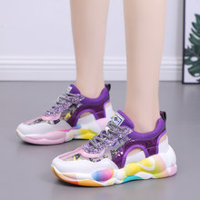 2019 Summer Style Round Toe Platform Pink Yellow Colorful Chunky Sneakers High Heel Dad Shoes Women Tenis Feminino Size 35-40(China)