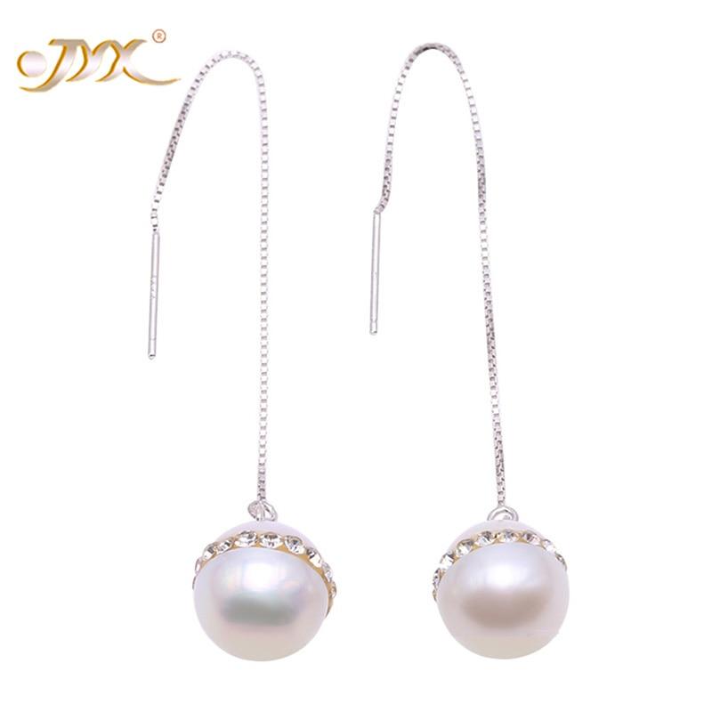 все цены на JYX Pearl Earrings Silver 925 Long Dangle Earrings 100% Real Natural Freshwater Pearl Earrings Dotted with Crystal Zircon-10.5mm онлайн