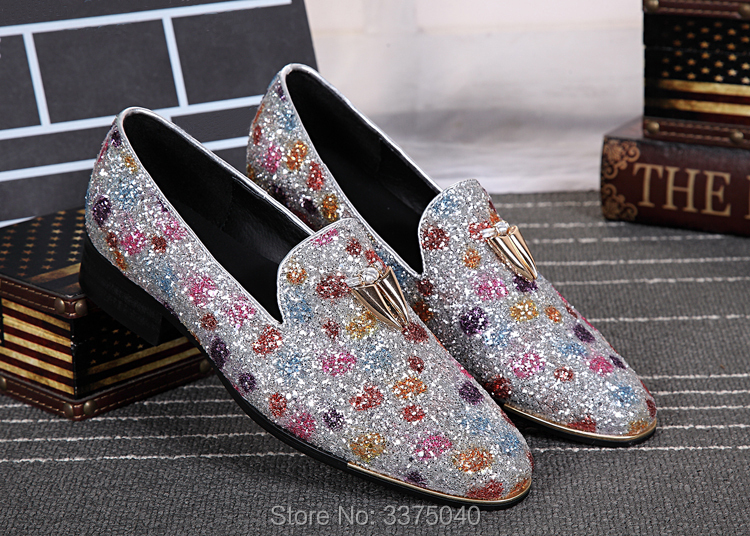Luxury Men Loafers Stone Studded Shoes Bling Bling Loafer Shoes Mens Slip  On Leisure Flats Colorful b1190dd27bcd
