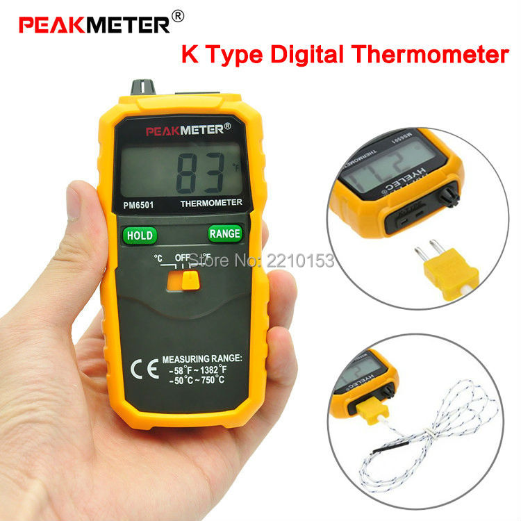 K Type Digital <font><b>Thermometer</b></font> PM6501 LCD High Accuracy <font><b>Thermometer</b></font> Temperature Meter Thermocouple - 50 -750 degree