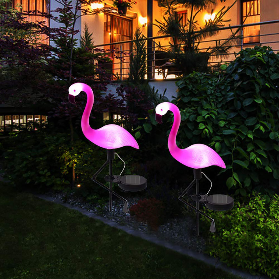 Solar powered flamingo lawn lamp garden lawn yard decor - Decorative garden lights solar powered ...