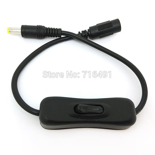 10PCS Free shipping Male Plug to Female Jack DC Cable with On Off Switch 55CM 22 Inch with high quality 5.5x2.1mm