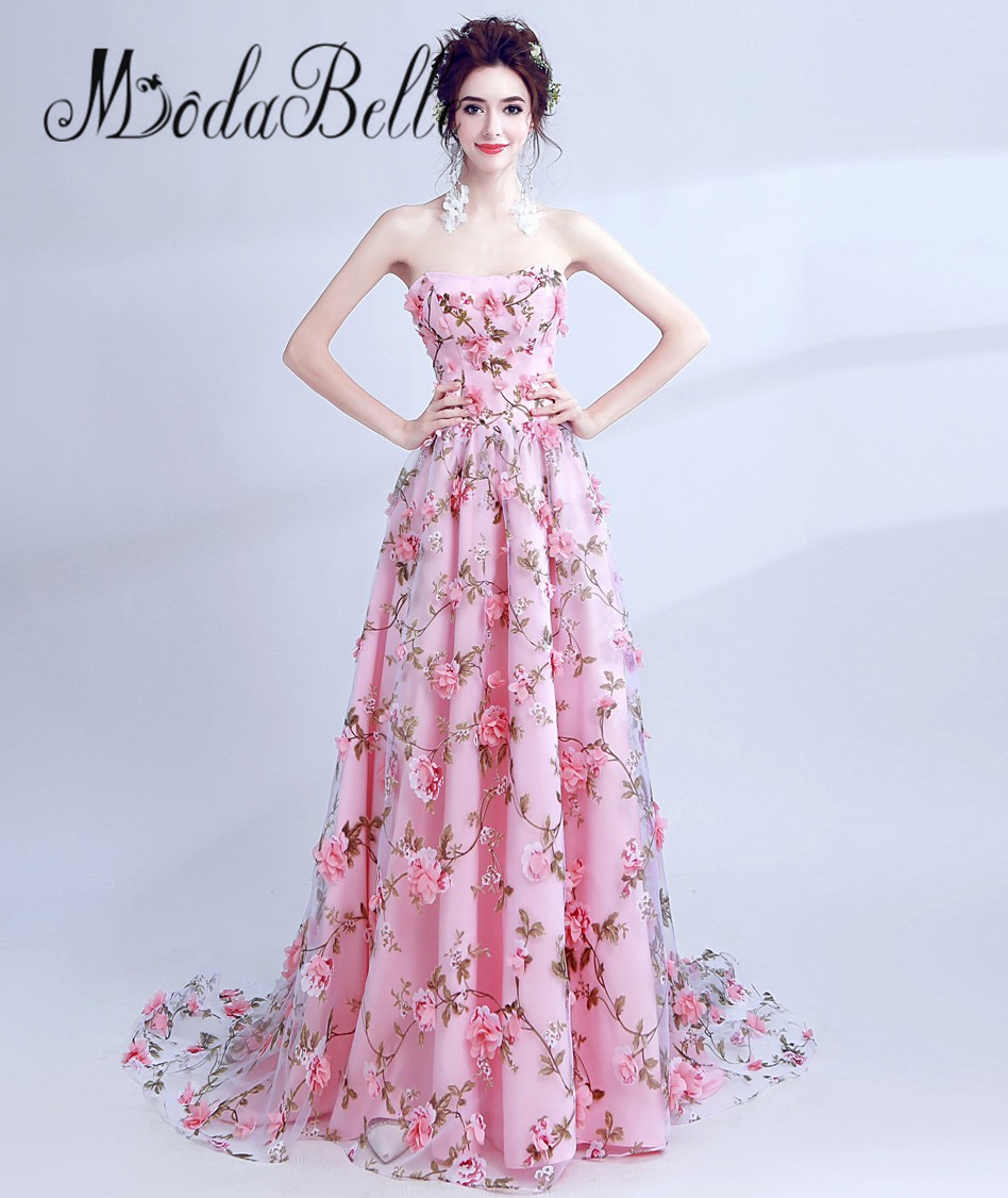 Modabelle Elegant Pink Flower Evening Dress 3d Floral Prom Dress