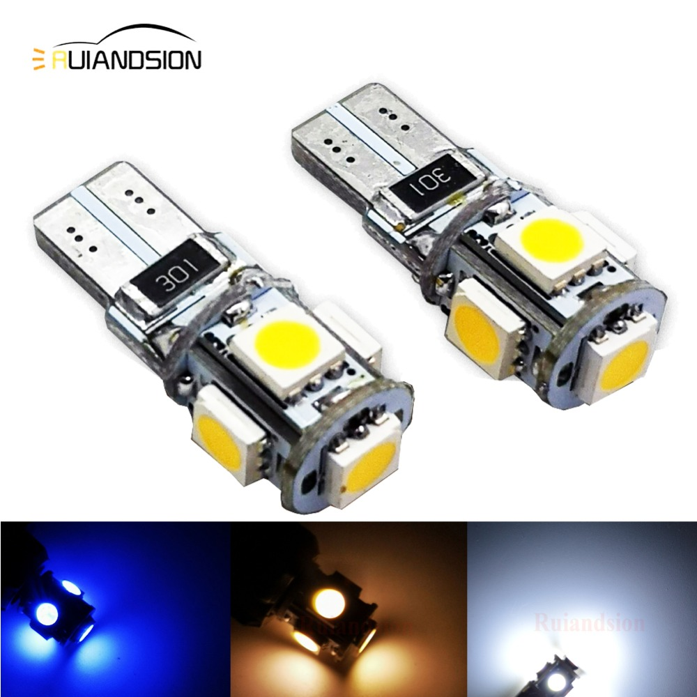 2pcs/lot Warm White <font><b>4300K</b></font> <font><b>T10</b></font> W5W 5 SMD 5050 canbus <font><b>LED</b></font> Car Auto License Plate Wedge Side Lights Lamp Bulb 12V Yellow Wholesale image
