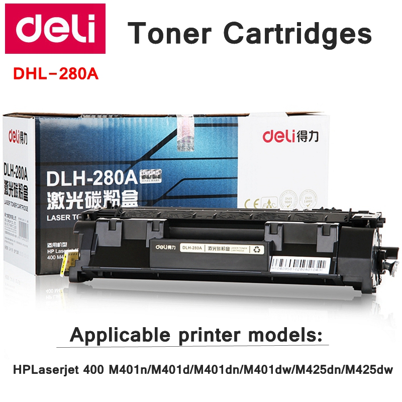 Deli-280A Toner Cartridges For HPLaserjet 400 M401n/M401d/M401dn/M401dw/M425dn/M425dw include 500g Toner powder print 12000 page