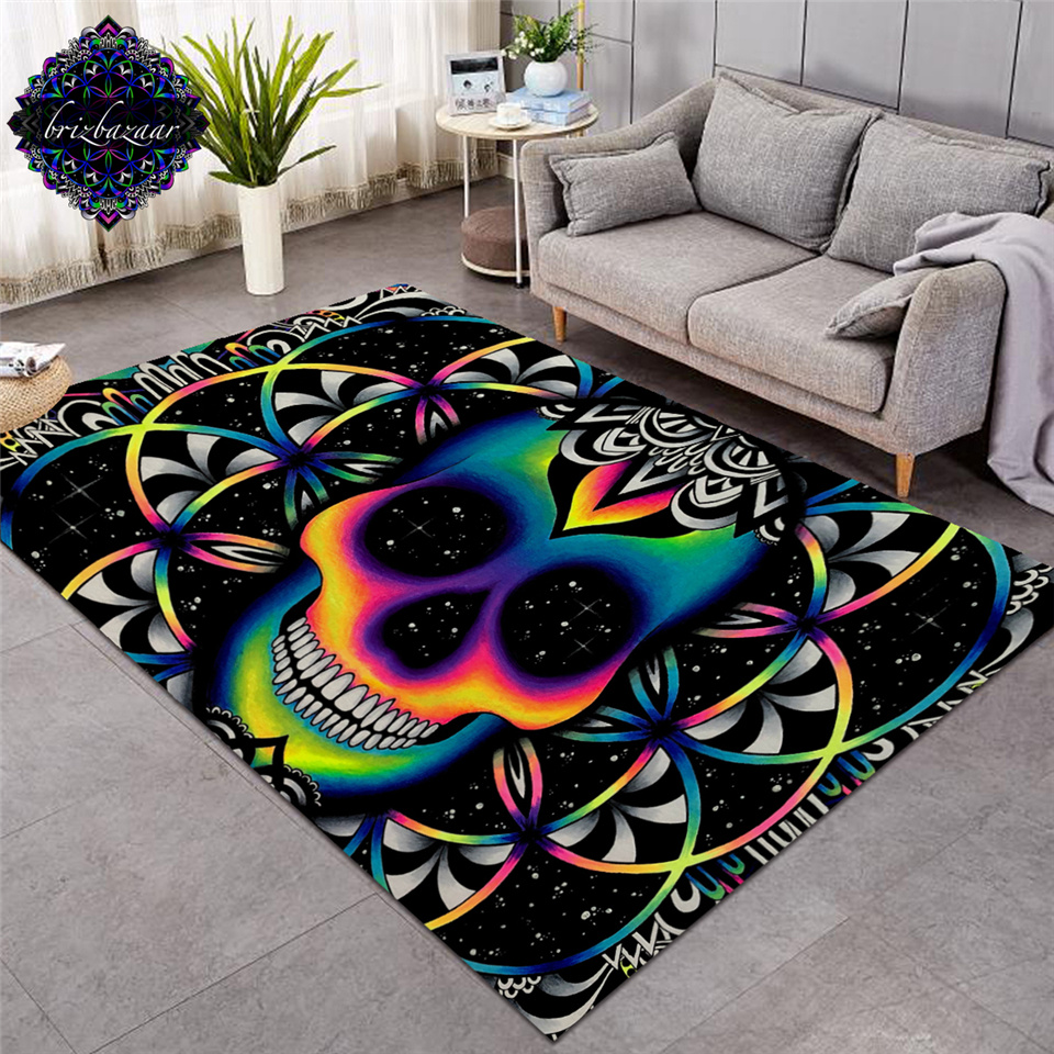 Chaos By Brizbazaar Large Carpets For Living Room Colorful Skull Area Rug Galaxy Mandala Gothic Decorative Non-slip Floor Mat