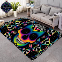 Chaos By Brizbazaar Large Carpets for Living Room Colorful Skull Area Rug Galaxy Mandala Gothic Decorative Non slip Floor Mat