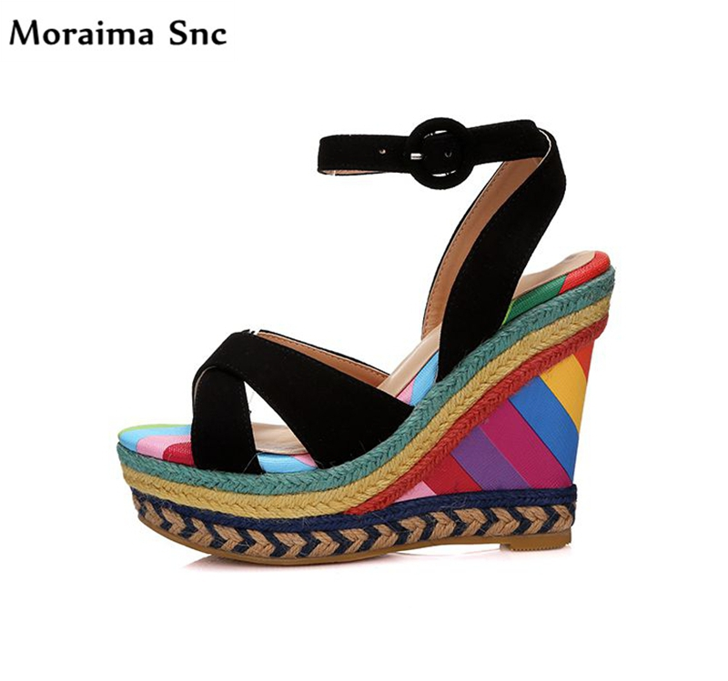 Moraima Snc hot selling sexy women sandals mixed colors vintage suede wedges high heel platform slingback Ankle strap Buckle