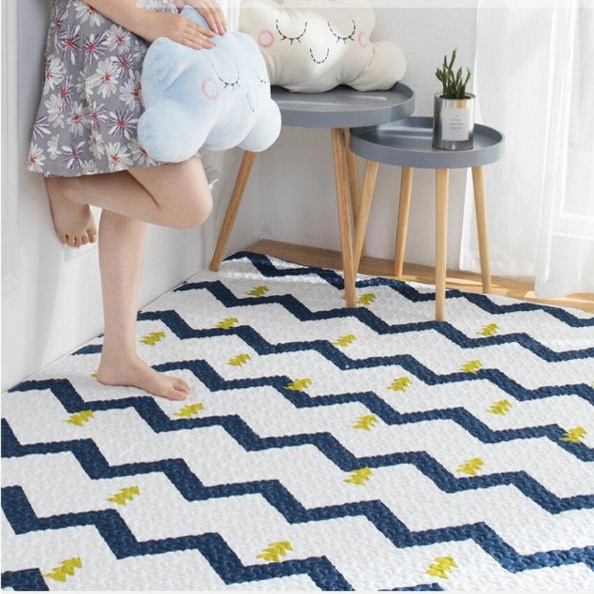 Tapis de tatami géométrique de style nordique, tapis de sol matelassé 100% coton pour salon, tapis de yoga, coussin d'éveil pour bébé