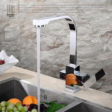 Блаватская латунь хром матовый полированная две функции кухонной мойки кран 2 отверстия питьевой водопроводной воды torneira HP4301
