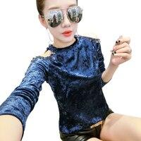4592cf5168 Fashion Female T Shirt Autumn Velvet Tops For Women Long Sleeve Off The  Shoulder Beading Sequined