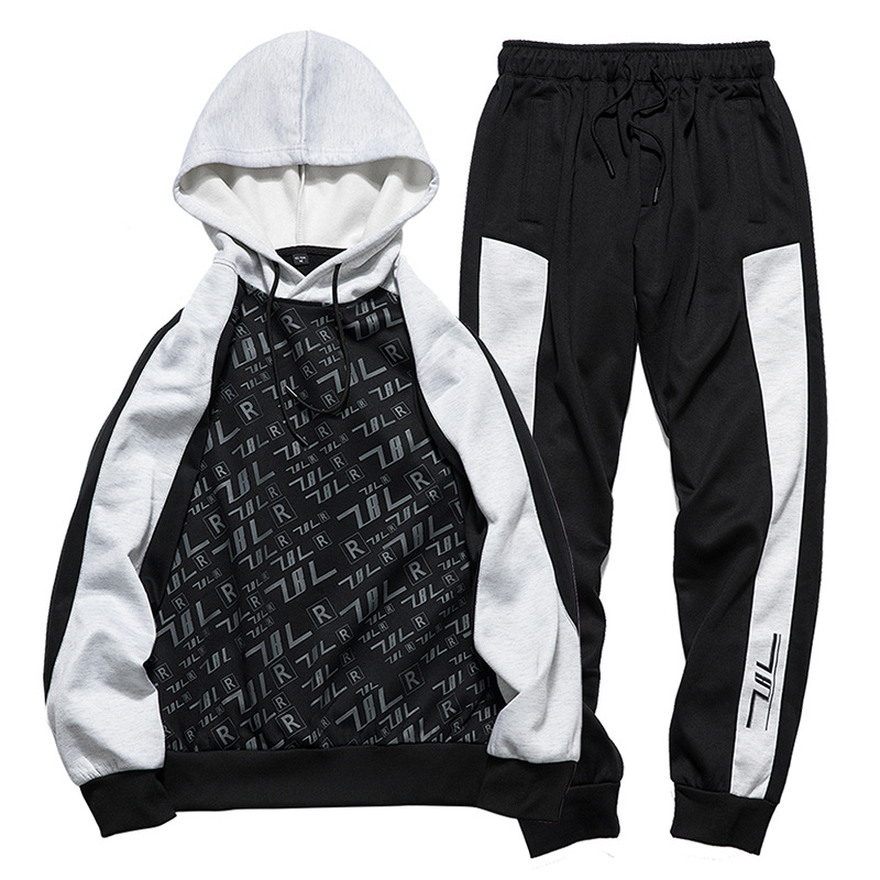 Kpop men's autumn and winter sports two piece casual shirt trousers suit youth men's black and white splicing trend set S XXL