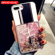 BROEYOUE Love Heart Stars Glitter Phone Case For iPhone 6 6S 7 8 Plus 5 5S SE Dynamic Liquid Quicksand Soft TPU Back Cover Coque